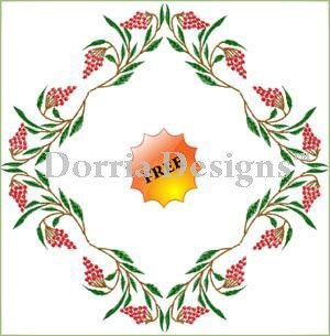 Free grapes center embroidery design 030