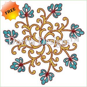 Free floral machine embroidery design