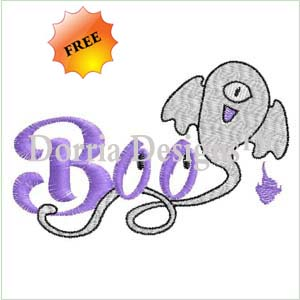 Freebie ghost embroidery design