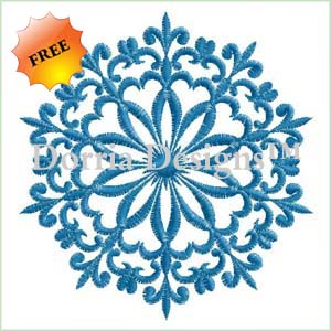 Freebie blue snowflake embroidery design