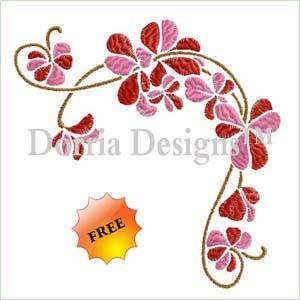 Free sakura embroidery corner design