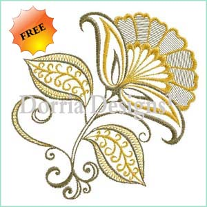 Ornamental flower embroidery design 390
