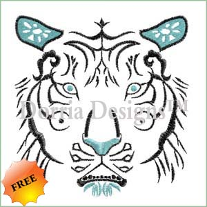 Free tiger face embroidery design