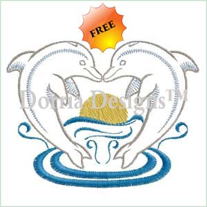 Free dolphin embroidery design