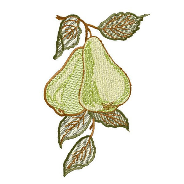 Pear machine embroidery design